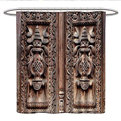 Anniutwo Rustic Decorlong Shower curtainMystic Wooden Carved Door Detail Kathmandu Artful Sculpture Cultural Facade Artwork ImageShower Curtain liningBrown