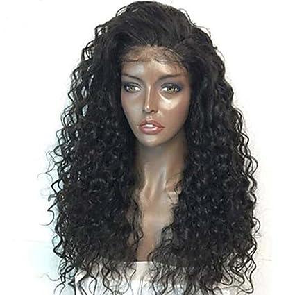 MZP Mujer Pelucas de Cabello Natural Remy Encaje Frontal Frontal sin Pegamento 150% Densidad Rizado