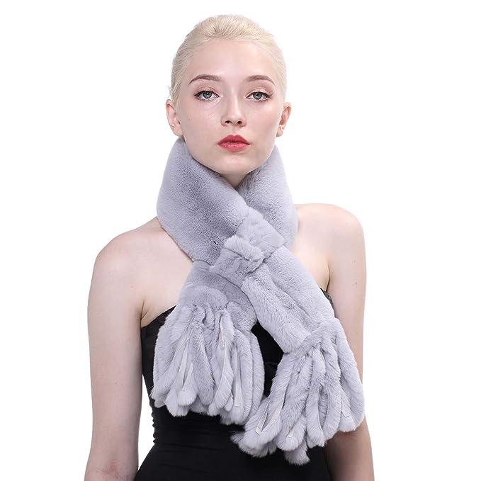 URSFUR Bufanda caliente del cuello del abrigo de la borla de mujeres del bufanda de la piel real conejo de Rex del invierno: Amazon.es: Ropa y accesorios