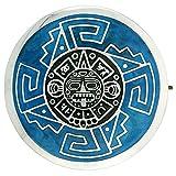 Sterling Silver Aztec Calendar Mandala Brooch Pin Pendant w/ Blue Enamel Background, 1 1/2 inch