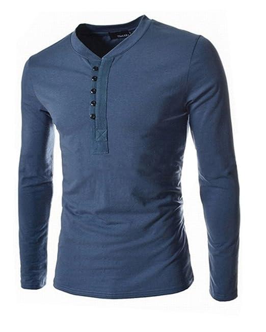 COCO clothing Otoño Primavera Sudaderas Hombre Blusa Tops con Botones Cuello Abuelo Casual Camiseta Shirt Polo… p7BEHDV