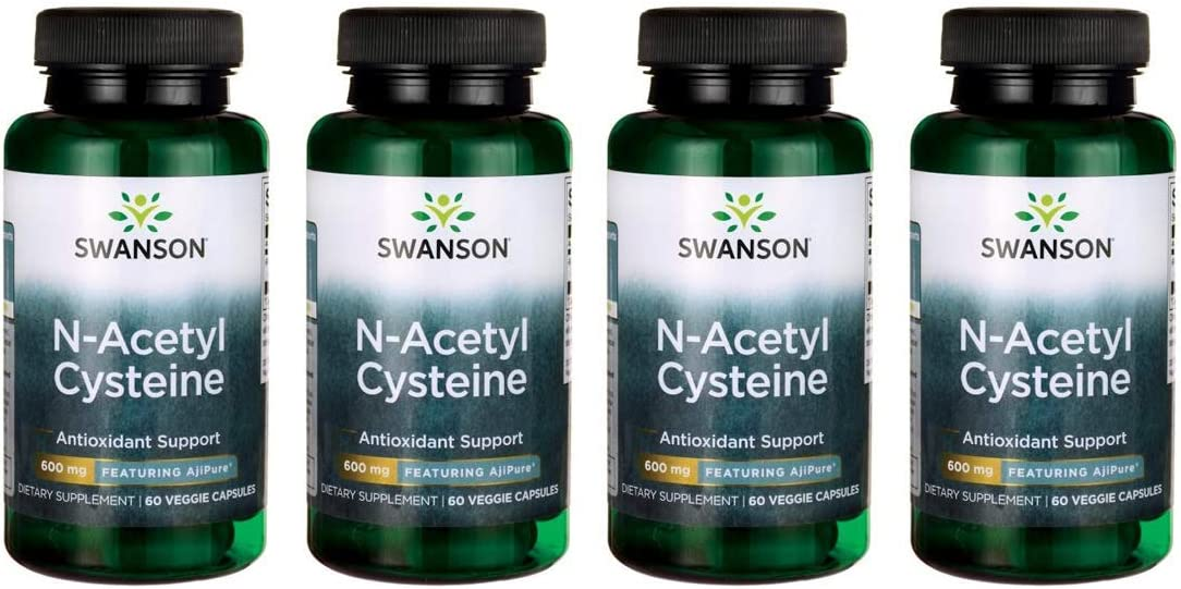 Swanson N-Acetyl L-Cysteine – Featuring Ajipure 600 mg 60 Veg Caps 4 Pack