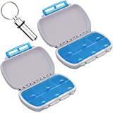 Daily Medicine Organizer Box, Qtimal 2 Pack 6 Compartments Portable Vitamin Pill Case for Traveling, Bonus 1 Waterproof Aluminum Keychain Medication Holder Container
