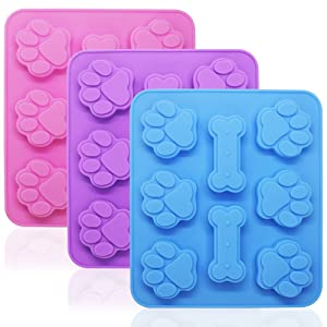 3 Pieces Silicone Molds Puppy Dog Paw & Bone Shaped 2 in 1, 8-Cavity, FineGood Reusable Ice Candy Trays Chocolate Cookies Baking Pans, Oven Microwave Freezer Dishwasher Safe-Pink, Blue, Purple