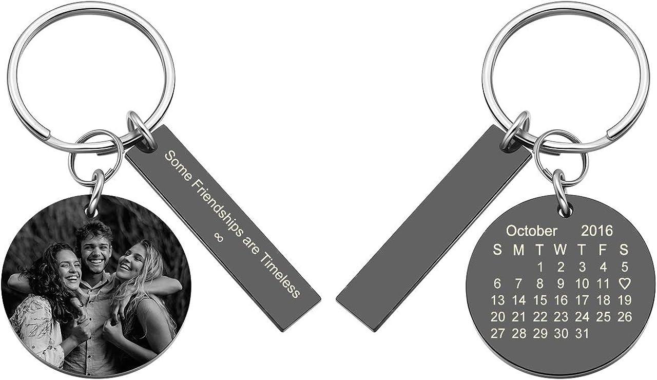 JOVIVI Personalized Custom Picture Photo Dog Tag Keychain Keyring Birthday Gifts