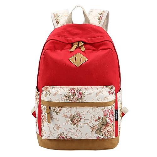 MingTai Oferta Mochilas Escolares Mujer Backpack Mochila Escolar Lona Impresión Grande Unisexo Bolsa De Libros Casual Juvenil Chica Rojo De La Sandía: ...
