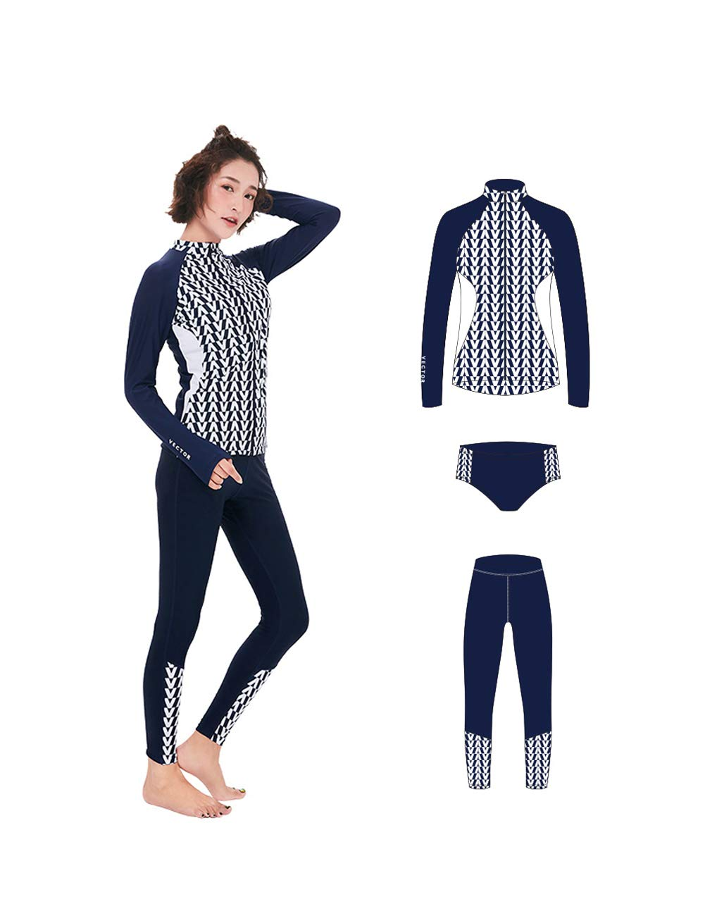 VECTOR 3 Pcs Women's Wetsuit Long Sleeve Swimsuit Watersports Diving Suits Snorkeling Swimming Sun Protection(A-Cardigan,M)