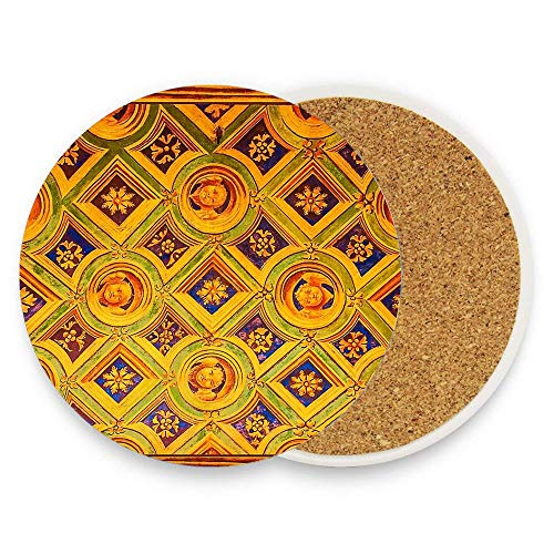 CoolToiletLidCoverCC Sistine Chapel In Milano Italy - Medeaval Pattern Custom Ceramic Coaster Absorbent Stone Coaster for Cold Drinks Coffee Mug Glass Cup Mats Pack Of 1