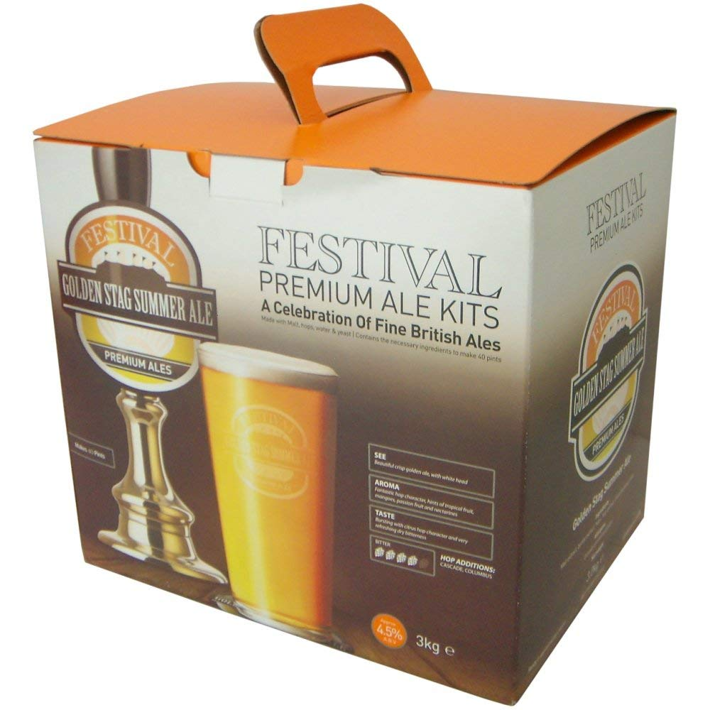 Homebrew & Wine Making - Festival Premium Ale - Golden Stag Summer Ale - 40 Pint Home Brew Beer Kit Balliihoo Homebrew