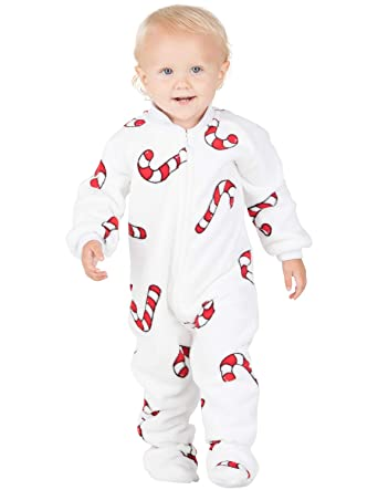 ef79cee3b Amazon.com: Footed Pajamas - Candy Cane Lane Infant Chenille Onesie ...