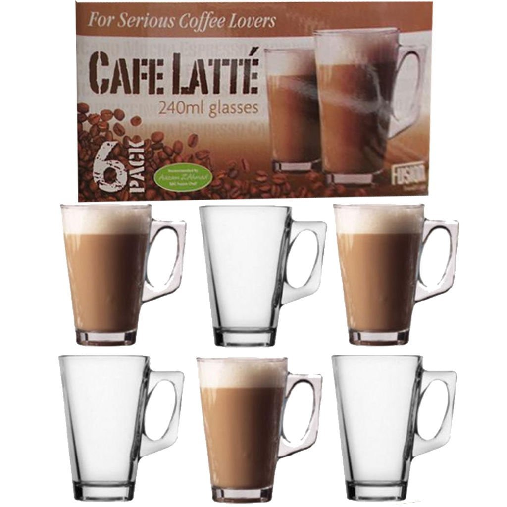 For Serious Coffee Lovers Cafe Latte 240ml Glasses (Pack of 6)