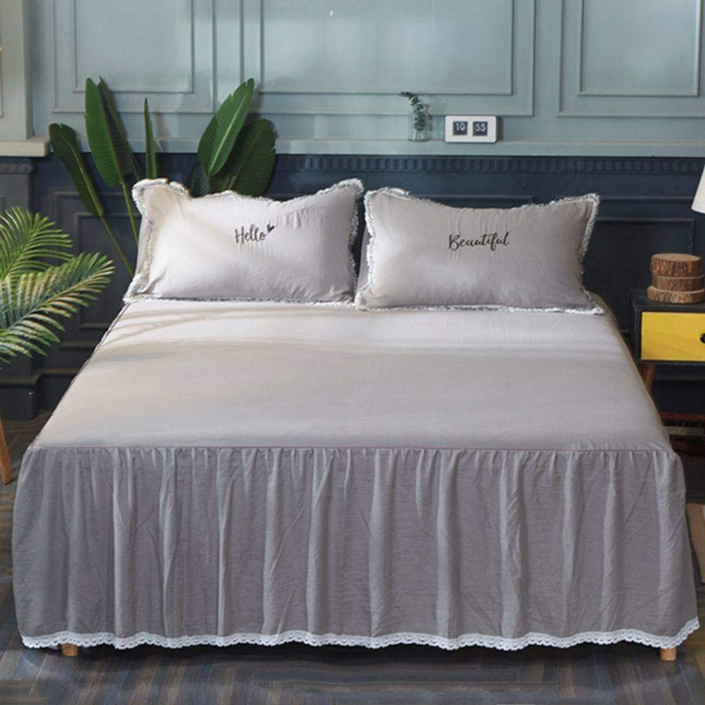 QXJR Bed Skirts,Valance Sheet Box,Bed Decoration Washed Cotton Lace Bed Skirts Solid Color Ruffled Pleated Mattress Cover Bedding-gray-200220Cm+2pillowcase by QXJR