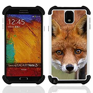 - fox animal art fairytale forest red face/ H??brido 3in1 Deluxe Impreso duro Soft Alto Impacto caja de la armadura Defender - SHIMIN CAO - For Samsung Galaxy Note3 N9000 N9008V N9009