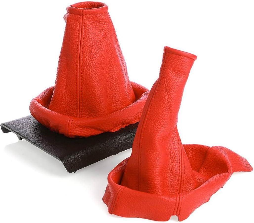 myshopx SH60 Schaltsack Schaltmanschette mit Handbremsmanschette Rot Faden Rot Echt Leder