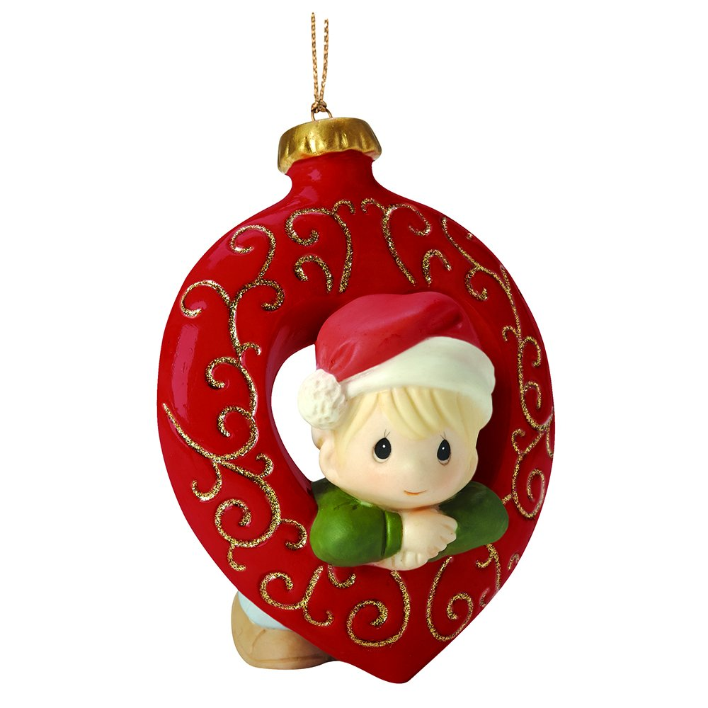 """Precious Moments, Christmas Gifts, """"You Fill My Heart"""", Boy, Bisque Porcelain Ornament, #161029"""