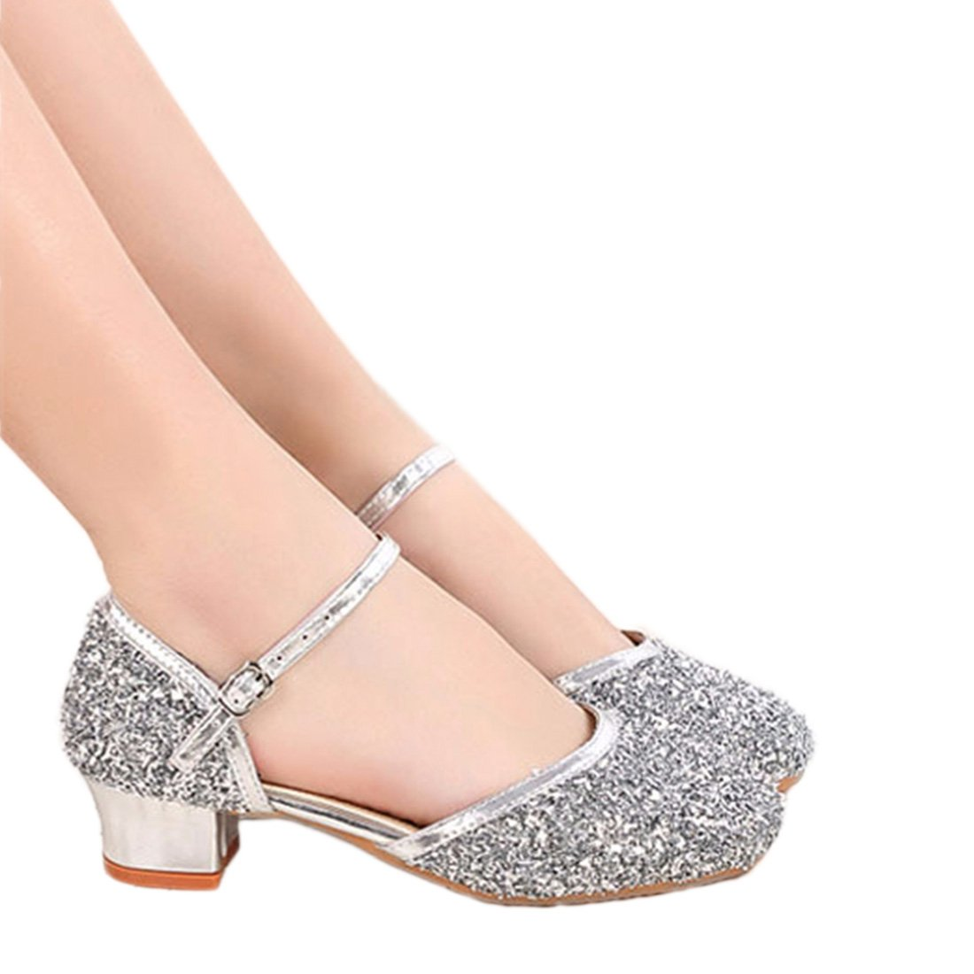 YIBLBOX Girls Kids Dress up Wedding Cosplay Princess Shoes Sparkling Sequins Mary Jane Crystal Low Heel Dress Shoes