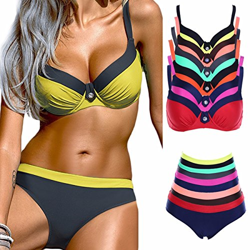 FITTOO Sexy Padded Bikini Underwire Push up Triangle Top Splicing Color Bottom 2 Piece Bathing Suits S-XXL