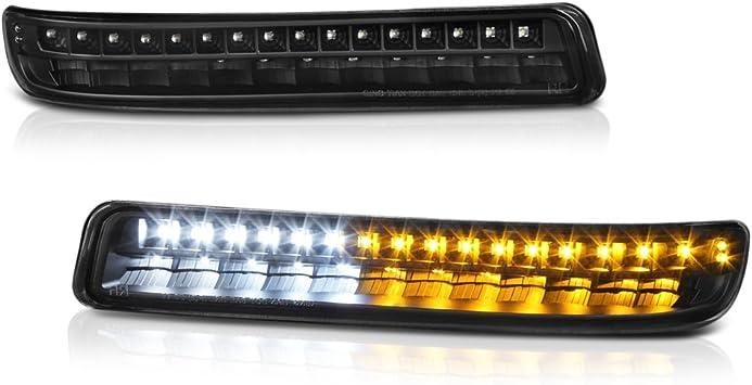 XL 1500 2000-06 YUKON For 1999-06 GMC Sierra 1500 2500HD 3500HD 2500 Black LED Bumper Lights Pair