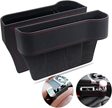 Extra Storage Space in Car in Between Car Seat Catcher Mr.Ho Console Side Pocket with Genuine Leather Edge Car Seat Catcher Gap Filler Side and Caddy Pocket Organizer Passengers Seat