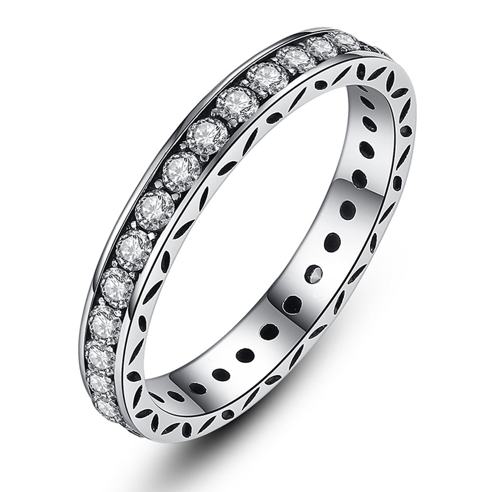 The Kiss Sparkling Clear CZ 925 Sterling Silver Stackable Ring KISSRPA7119