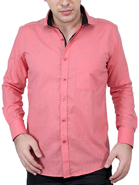 62a5b2ca48bc3 Zeal Men s Cotton Casual Full Sleeves Mandarin Collar Pink Shirt   Amazon.in  Clothing   Accessories