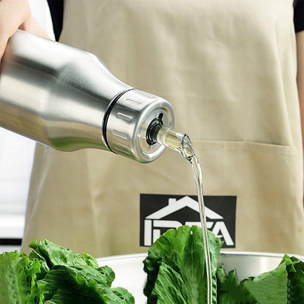Chomo Bouteille pour dhuile dolive en acier inoxydable anti-goutte anti-fuites 1000ML Bouteilles /à bec verseur pour gouttes de comestible Huile Pot sauce et vinaigrettes,Distributeurs de sauces et d/épices