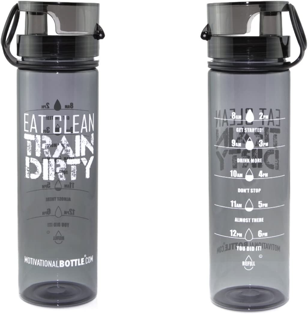 Motivational Bottle - 27oz Flip Lid Water Bottle | Fitness -Workout-Sports Bottle | Measurements | Goal Marked Times for Measuring Your Daily Water Intake, BPA Free Non-Toxic Triton