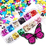 3D Butterfly Glitters Nail Sequins,1 box 12