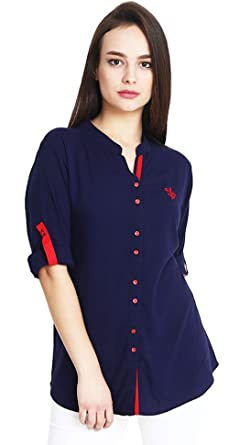 53dc17409f Mitaha Women's Cotton Boat Neck Embroidered Rayon Top (Navy Blue, Small)