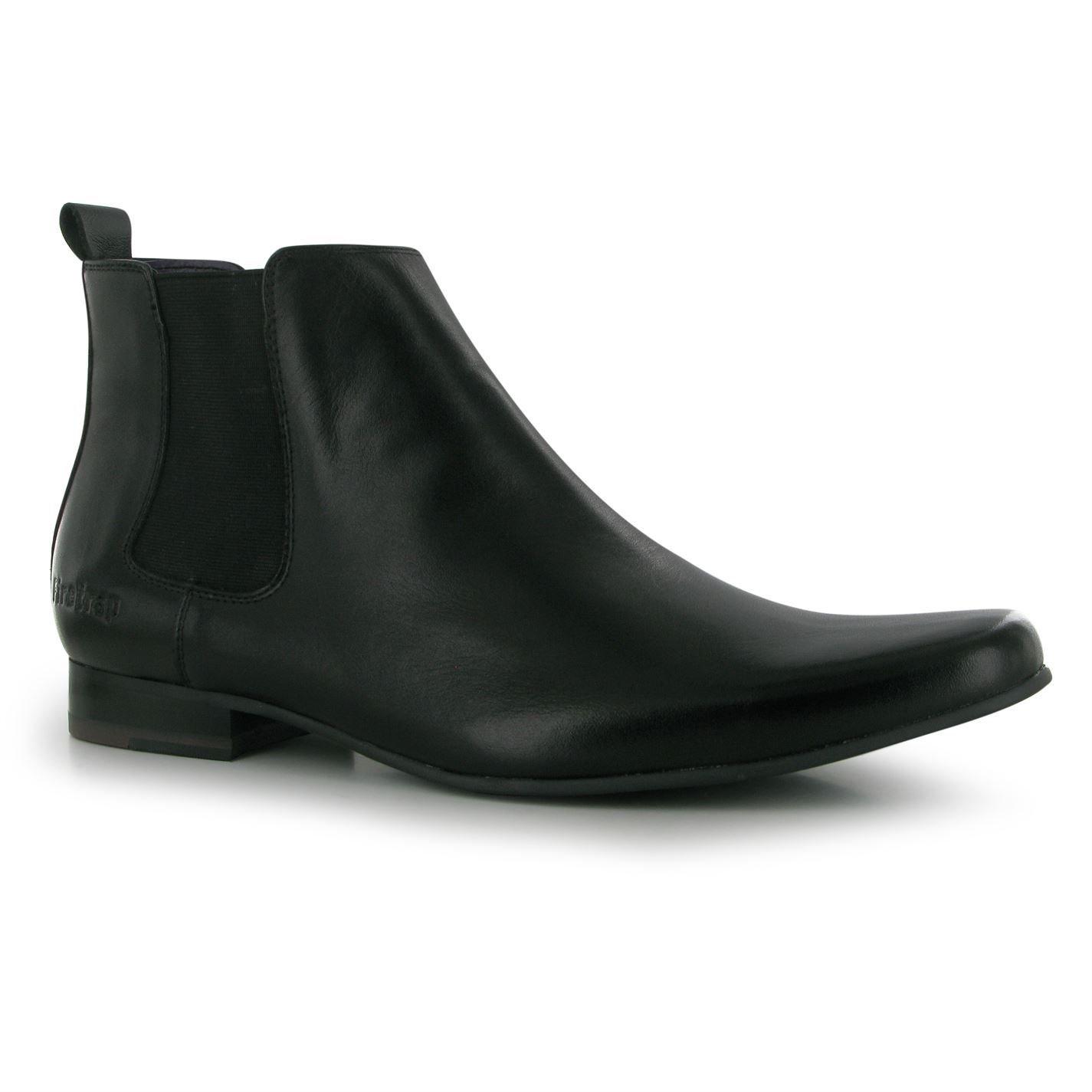 Firetrap Knöchelhohe Herren-Schuhe - Rutschfeste Chelsea-Stiefel mit elastischen Seiten
