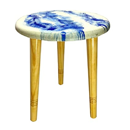 Wai Coffee Table Bedside End Table Round Three Foldable Legs Resin