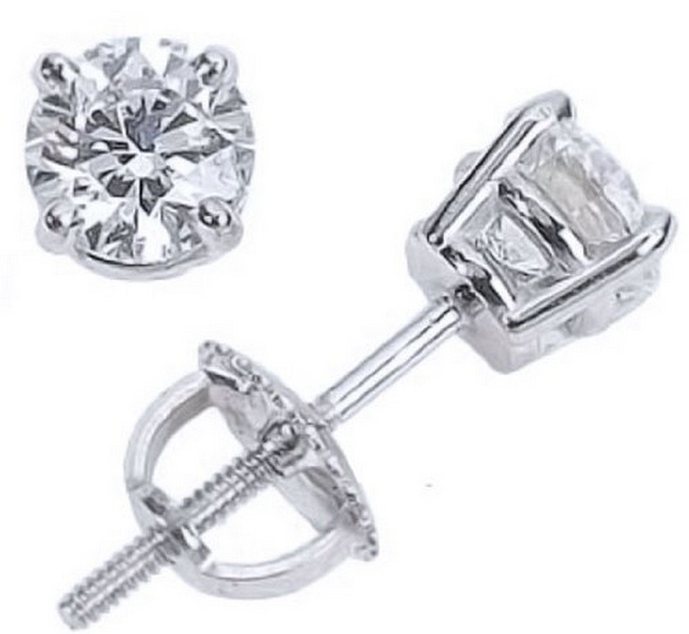 2/3 Carat Solitaire Diamond Stud Earrings 14K White Gold Round Brilliant Shape 4 Prong Screw Back (I-J Color, I2 Clarity)