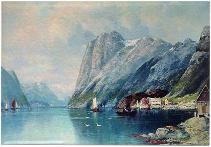 CafePress – fiordo en Noruega, pintura por Lev – rectangular imán, 2