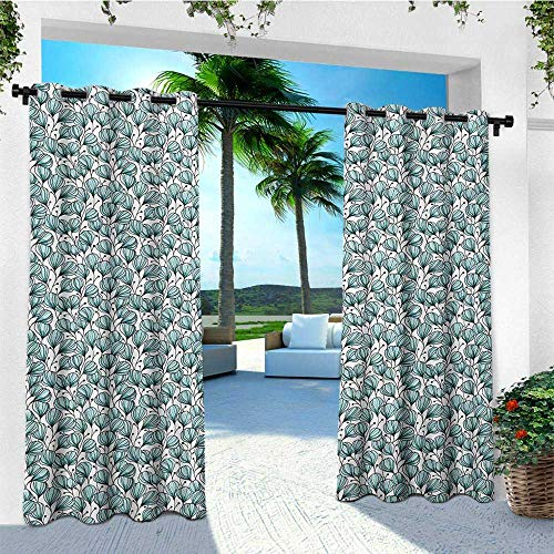 leinuoyi Floral, Outdoor Curtain Ends, Doodle Style Flowers with Petals in Blue Tones Bedding Plants Garden Art, for Patio Waterproof W96 x L108 Inch Seafoam White Black