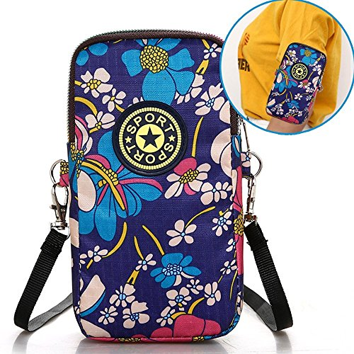 (iPhone Armband,Kudex Multifunctional Outdoor Sports Running Gym Mini Zipper Wrist Bag Women's Crossbody Shoulder Bags Cell Phone Pouch Wallet Purse for iPhone 6/7/8 Samsung S5 S6 S7 (Blue Flower))