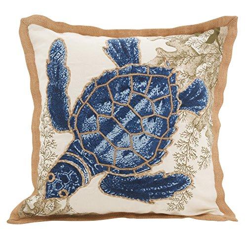 (SARO LIFESTYLE Neptunian Collection Sea Turtle Cotton Throw Pillow,)