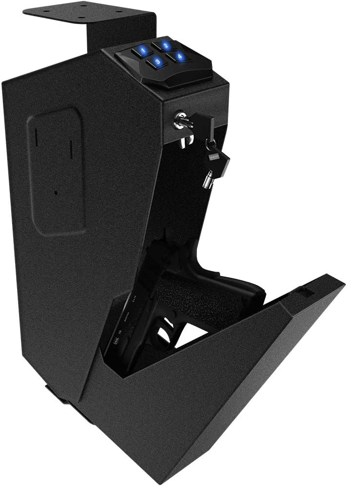 RPNB Mounted Firearm Safety Device with Auto Open Lid 4-Digit PIN Keypad Lock Handgun Security Safe Gun Safe : Sports & Outdoors