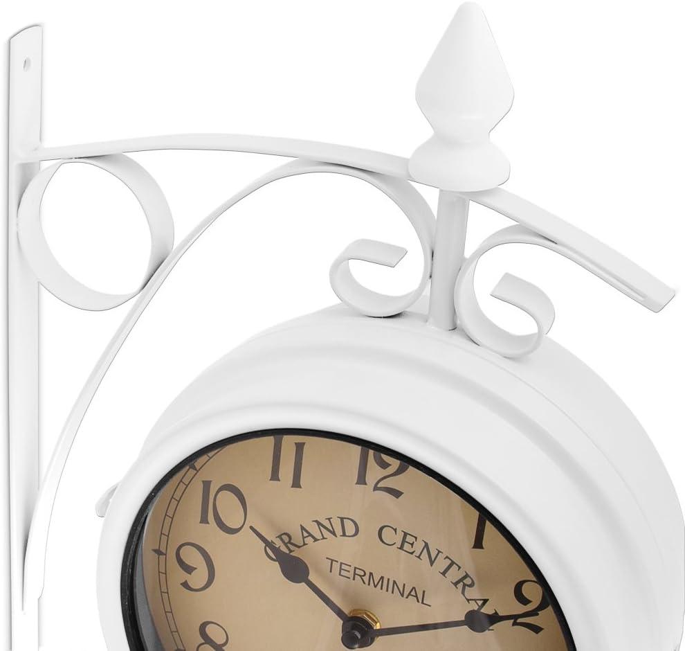 Wanduhr Bahnhofsuhr Retro Küchenuhr Uhr Quarz Vintage Antik Zweiseitig Weiß