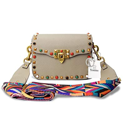 e0c5782c2ac Yoome Mini Crossbody Bag Designer Clutch for Women Rivets Bags with  Colorful Strap Cowhide Leather Shoulder Bag For Girls