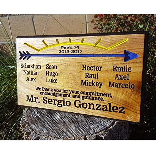 (Cub Scout Webelos to Boy Scout Leader Appreciation Arrow of Light Award Wood Routed Sign Plaque Handmade AOL Thanks Oak 15 x 8 inches)