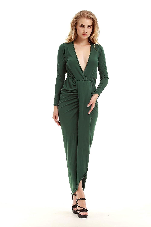 TeeDoc Women Plain Pleated V-neck Slit Front Long Sleeve Wrap Cocktail Dresses