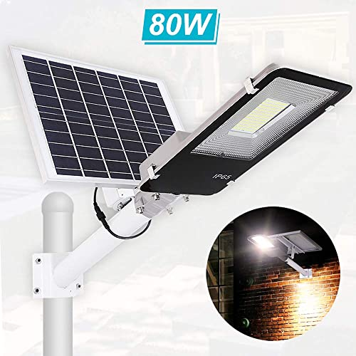 Solar Street Light 80W Dusk to Dawn Solar Security Lamp 6500K IP65 Waterproof Solar Powered Flood Lights with Remote Control Security Area Night Lighting for Yard, Driveway, Village, Patio