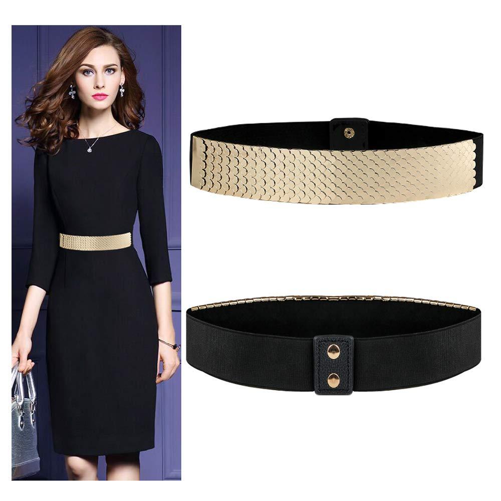 VITORIA'S GIFT Vintage Women Waist Belt,Gold Metal Mirror Face Belts Wide Self Tie Wrap Around Waist Thin Waistband
