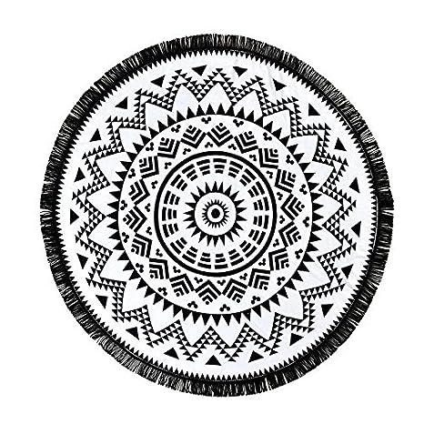 redonda toalla de playa de diseño floral con borlas sarong pareo Falda toalla de playa (roundie ducha toalla de baño Tassel Pest veces algodón 150 cm: ...