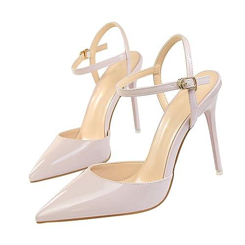 718d7ca7eff Chopstick Women Ankle Strap Shoes Pointed Toe Thin Heels Buckle Slingbacks  Pumps High Light Purple 4.5  Amazon.ca  Shoes   Handbags