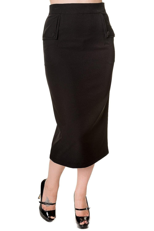Banned Vintage Pencil Skirt - Black, Red, Leopard Print Tartan