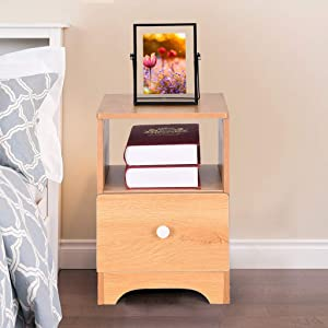SUIKI Nightstand with Drawer - Bedside Furniture & Night Stand End Table Dresser for Home, Bedroom Accessories, Office Assemble Storage Cabinet (Nordic Pine Color)