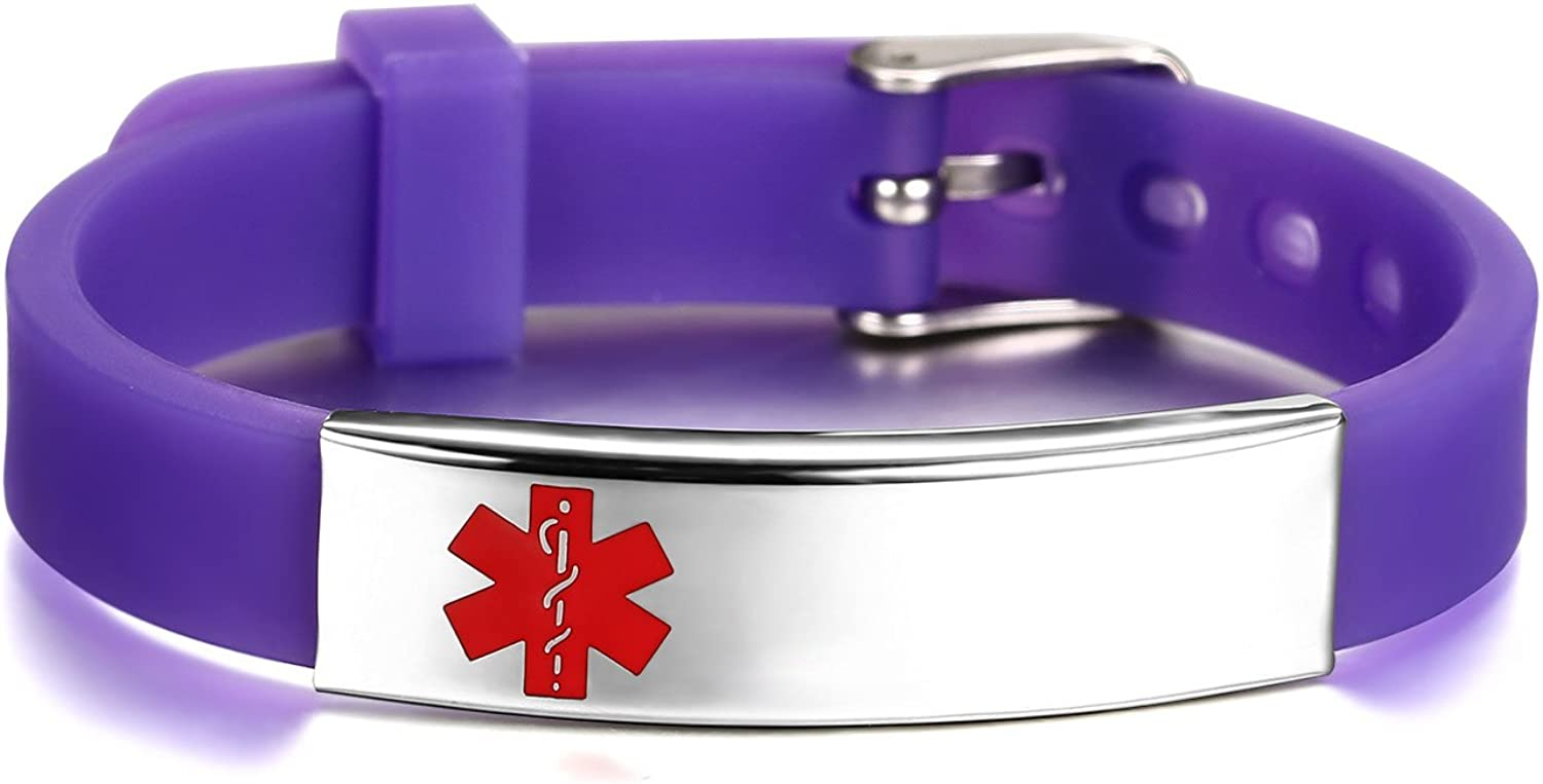 JF.JEWELRY Medical Alert ID/Allergy Bracelet for Kids Silicone Band & Stainless Steel Tag Custom Engraved Silicone Medical Alert Bracelet Adjustable