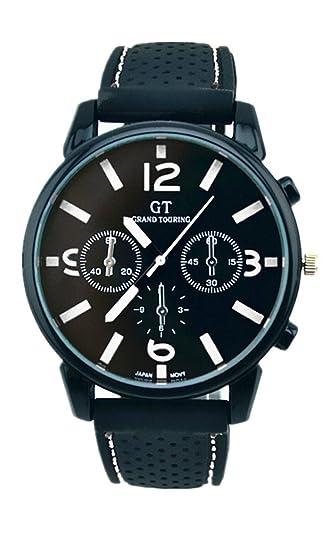 DAYAN 2015 Nueva moda Reloj hombres lujo porte goma Racing Color Blanco: Amazon.es: Relojes