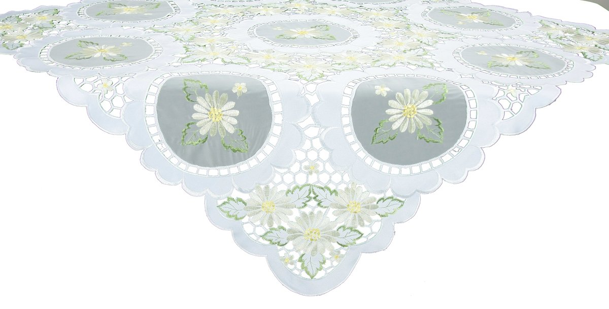 Xia Home Fashions Elegant Daisy Embroidered Collection Cutwork Spring Table Topper, 34 by 34-Inch